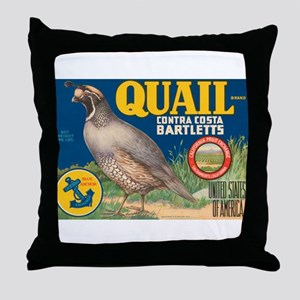 Quail Pear Fruit Crate Label Throw Pillow