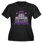 Trucker Helen Women's Plus Size V-Neck Dark T-Shir