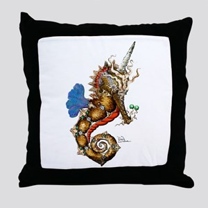 Unicorn Pegasus Seahorse Throw Pillow