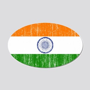 India Flag 20x12 Oval Wall Decal