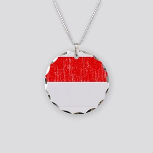 Indonesia Flag Necklace Circle Charm