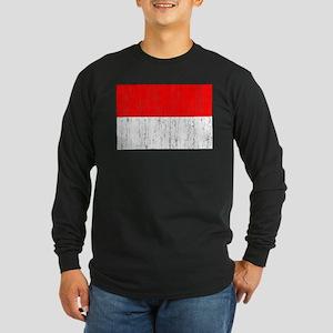 Indonesia Flag Long Sleeve Dark T-Shirt