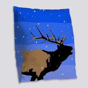 Winter Bugling Elk Burlap Throw Pillow