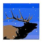 Winter Bugling Elk Tile Coaster