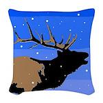 Winter Bugling Elk Woven Throw Pillow