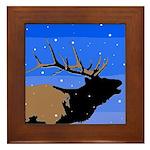 Winter Bugling Elk Framed Tile