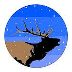 Winter Bugling Elk Round Car Magnet