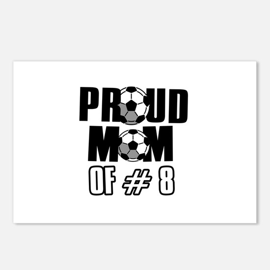 Proud soccer mom of number 8 Postcards (Package of