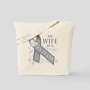 My Wife is a Survivor (grey) Tote Bag
