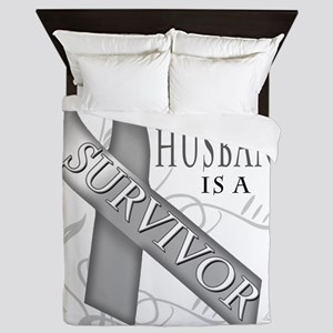 My Husband is a Survivor (grey) Queen Duvet