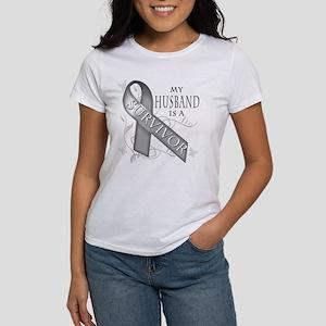My Husband is a Survivor (grey) Women's T-Shir