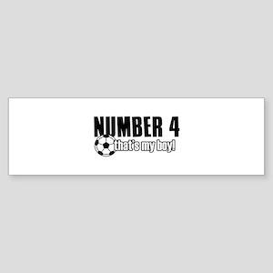 Proud soccer parent of number 4 Sticker (Bumper)