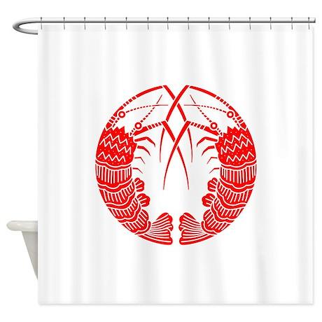 mukai ebinomaru red Shower Curtain
