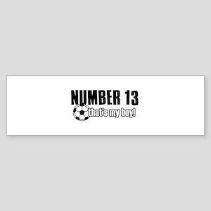 Proud soccer parent of number 13 Sticker (Bumper)