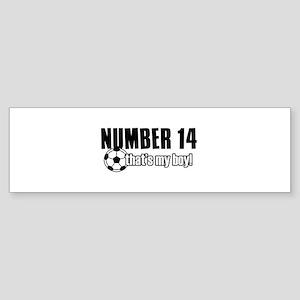 Proud soccer parent of number 14 Sticker (Bumper)