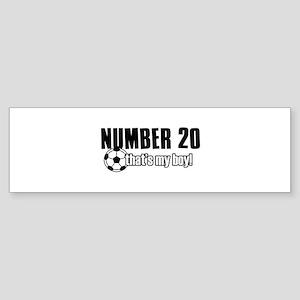 Proud soccer parent of number 20 Sticker (Bumper)