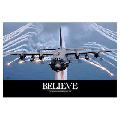 Military Poster: An AC-130H Gunship aircraft jetti Poster
