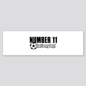 Proud soccer parent of number 11 Sticker (Bumper)