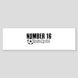 Proud soccer parent of number 16 Sticker (Bumper)