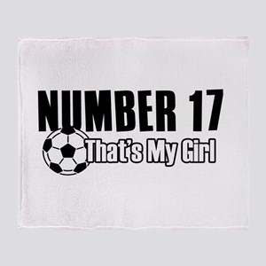 Proud soccer parent of number 17 Throw Blanket