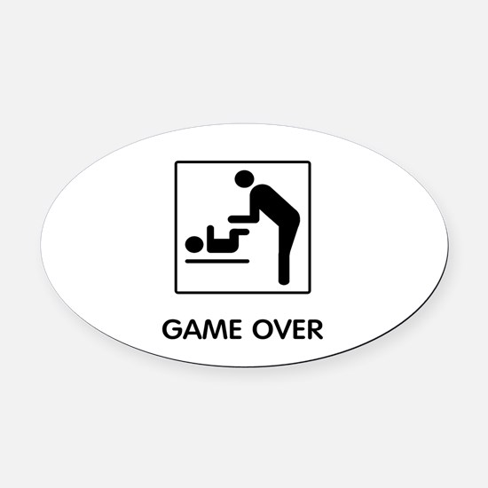 Game Over Oval Car Magnet