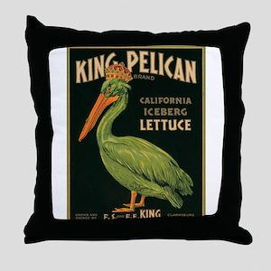 King Pelican Label Throw Pillow