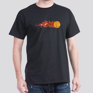 Flaming Tennis Ball Black T-Shirt
