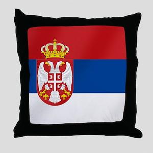 Flag of Serbia Throw Pillow