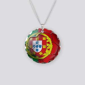 Portuguese Soccer Ball Necklace Circle Charm