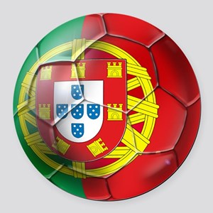 Portuguese Soccer Ball Round Car Magnet