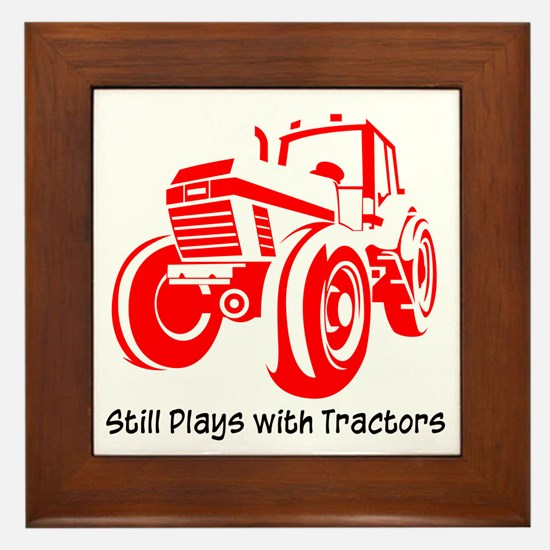 Red Tractor Framed Tile