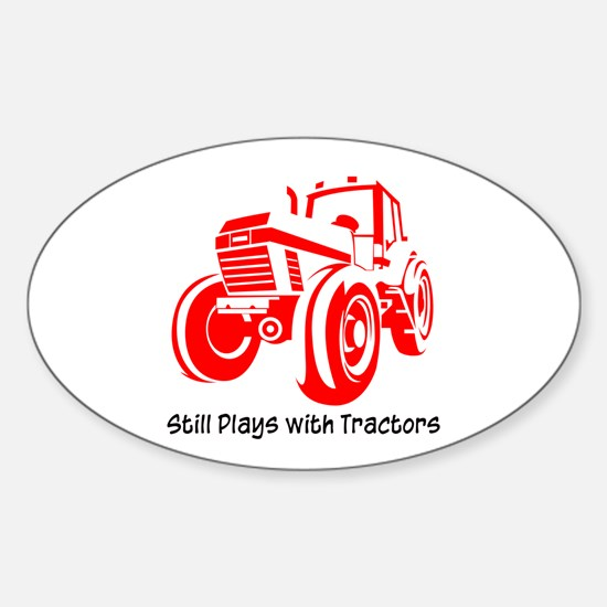 Red Tractor Oval Decal