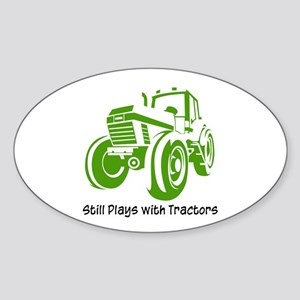 Green Tractor Oval Sticker