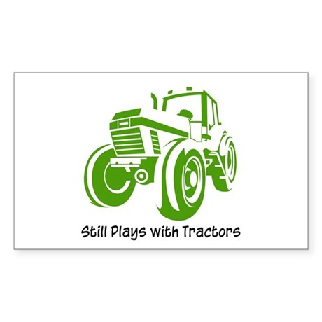 Green Tractor Rectangle Sticker