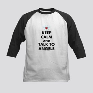 Keep Calm and Talk to Angels Kids Baseball Jersey