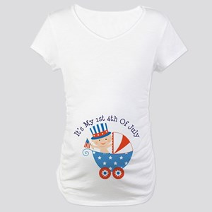Baby's 1st 4th of July Maternity T-Shirt