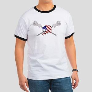 American Flag Lacrosse Helmet Ringer T