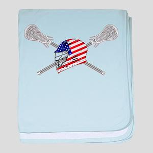 American Flag Lacrosse Helmet baby blanket