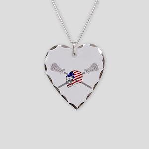 American Flag Lacrosse Helmet Necklace Heart Charm