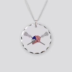 American Flag Lacrosse Helmet Necklace Circle Char