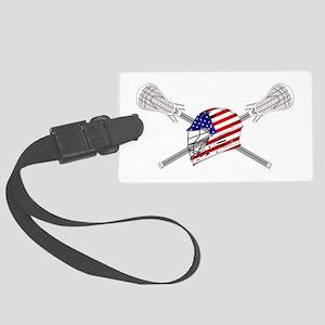 American Flag Lacrosse Helmet Large Luggage Tag