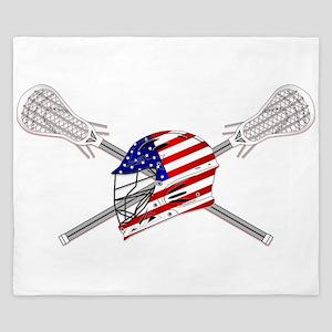 American Flag Lacrosse Helmet King Duvet