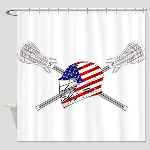 American Flag Lacrosse Helmet Shower Curtain