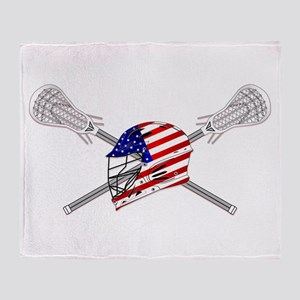 American Flag Lacrosse Helmet Throw Blanket