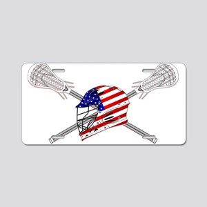American Flag Lacrosse Helmet Aluminum License Pla