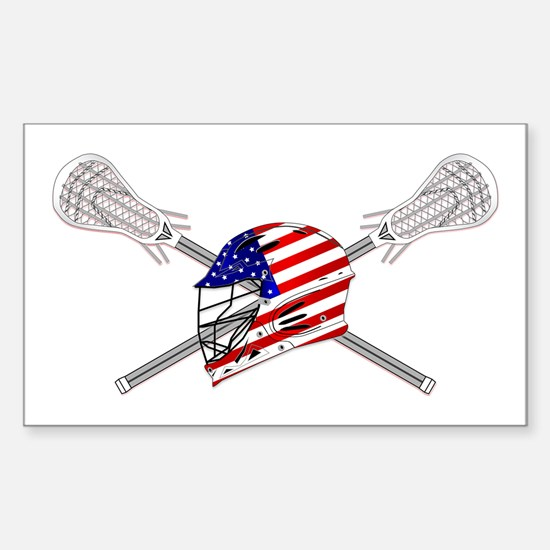 American Flag Lacrosse Helmet Sticker (Rectangle)