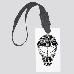 Hockey Goalie Mask Text Large Luggage Tag