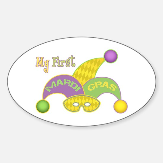 Mardi Gras Sticker (Oval)