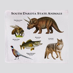 South Dakota State Animals Throw Blanket