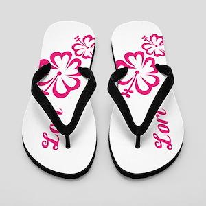 Lori Custom Pink Floral Hibiscus Hawaii Flip Flops